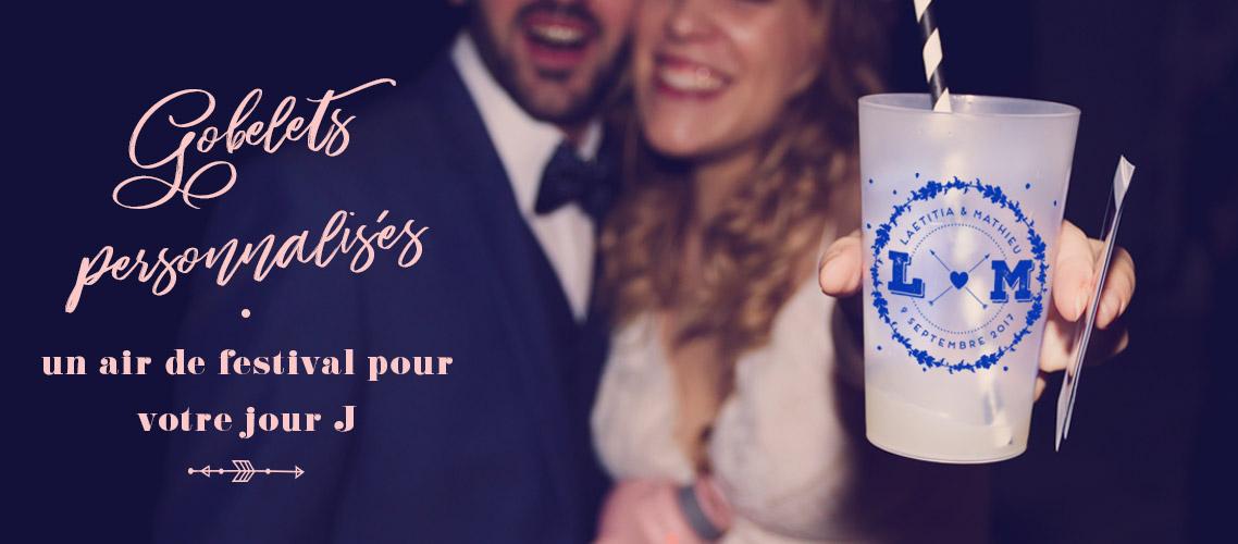 Gobelets de festival Personnalisés pour mariage ou PACS