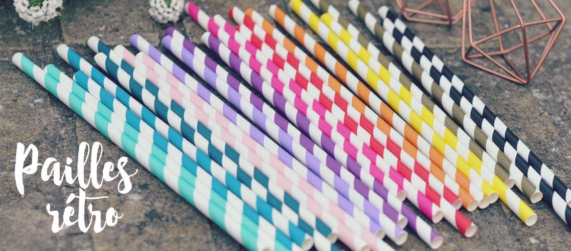 Pailles rétro en papier à rayures aux couleurs variées : aqua, framboise, violet, rouge...
