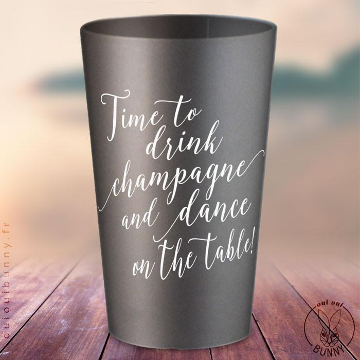 """Gobelets personnalisés """"Time to Drink Champagne"""" Argentés, coloris d'impression Blanc"""