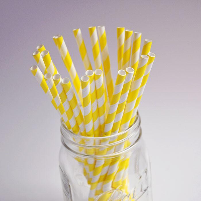 Pailles en papier jaunes