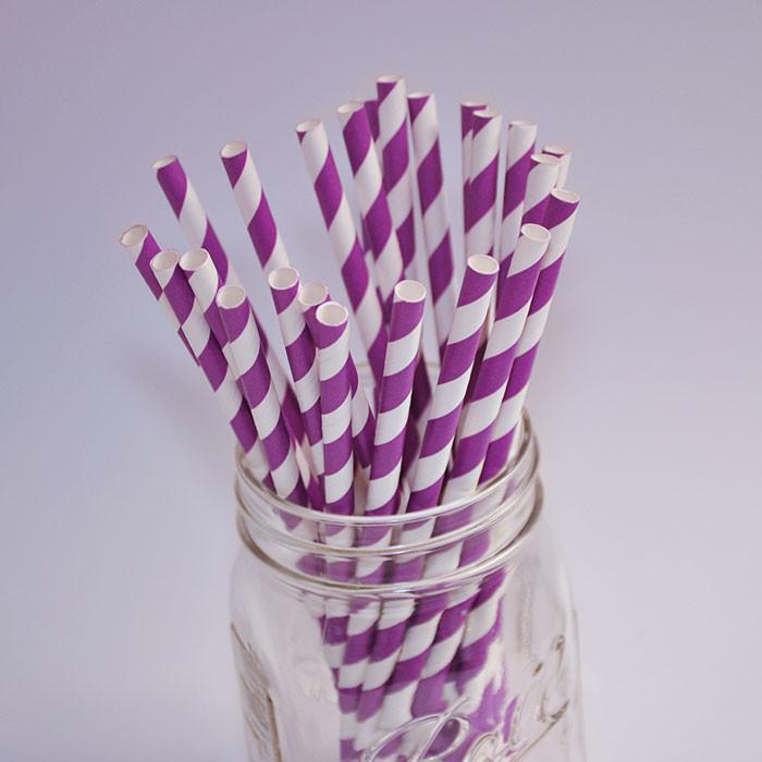 Pailles en papier - Couleur Violet