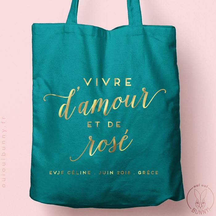 """Tote-Bag """"Vive d'Amour et de Rosé"""" personnalisé Coloré"""