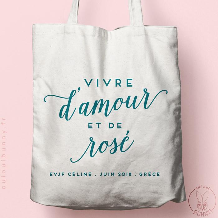 """ote-Bag """"Vive d'Amour et de Rosé"""" personnalisé Ecru, écriture couleur Bleu Canard"""