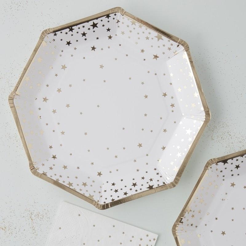Assiettes blanches en carton avec motif d'Étoiles Dorées (lot de 8)