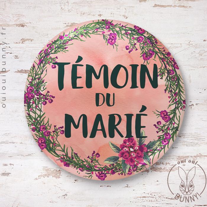 Badge épingle Fleuri Témoin du Marié