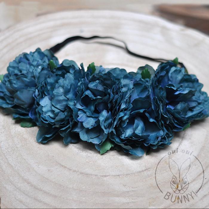 Couronne de Fleurs Bleu Petrole
