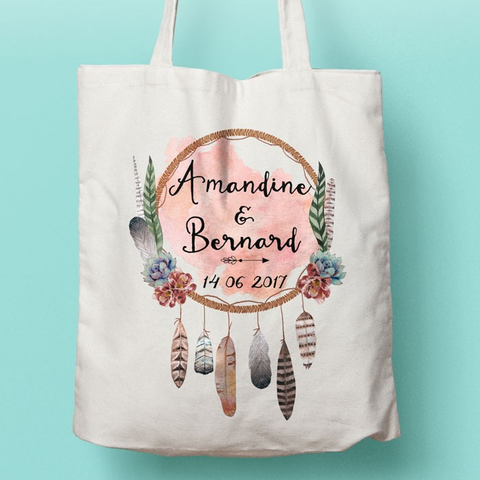 tote bag attrape r ves boh me personnalisable oui oui bunny mariage pacs evjf. Black Bedroom Furniture Sets. Home Design Ideas