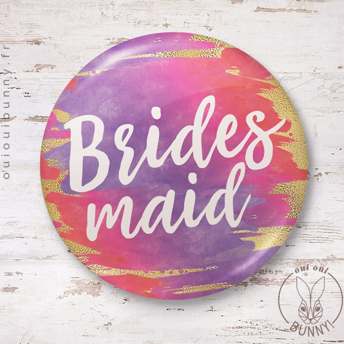 Badge aquarelle sunset Bridesmaid