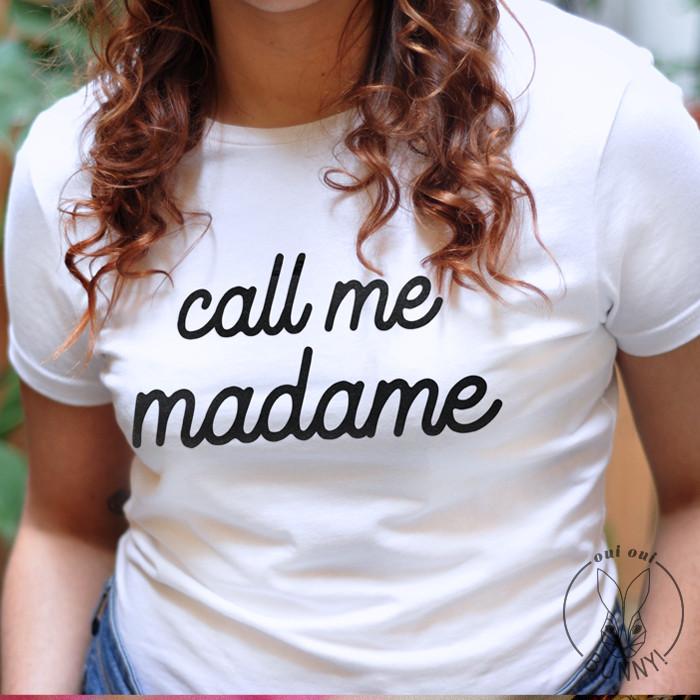 T-Shirt Call me Madame inscription Noire, blanc à col rond, stretch