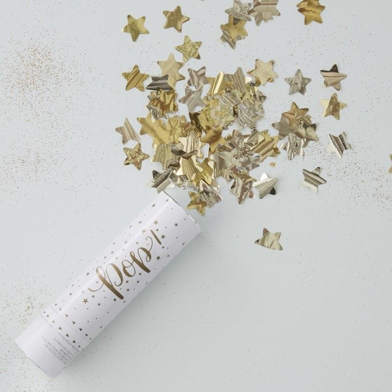 Canon à Confettis Étoiles Dorées