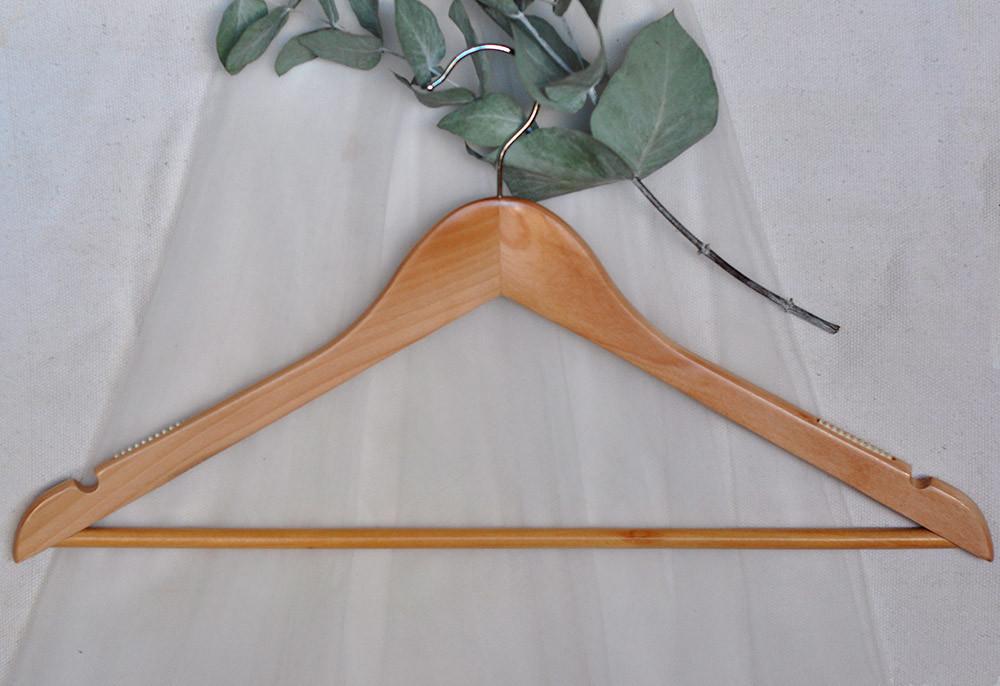 Cintre en bois pour vêtement à bretelles ou costume, avec encoches, antidérapants et barre latérale