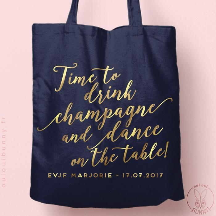 """Tote-Bag """"Time to Drink Champagne"""" personnalisé Coloré"""