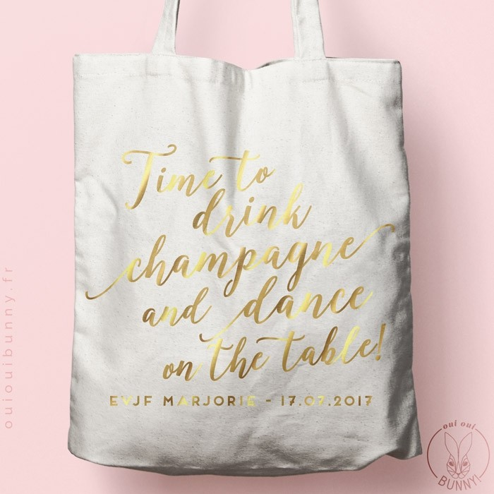 "Tote-Bag ""Time to Drink Champagne"" personnalisé naturel écru"