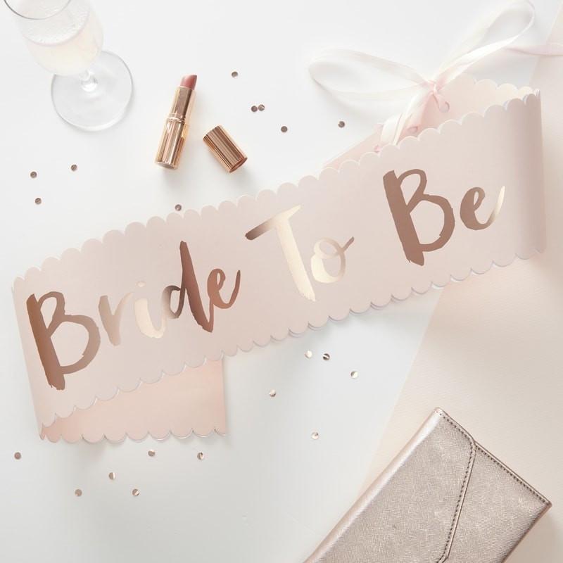 Echarpe en papier Bride to Be Rose Gold