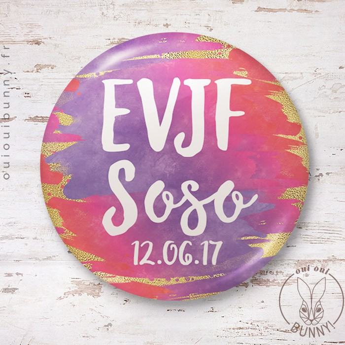 Badge Sunset EVJF personnalisable