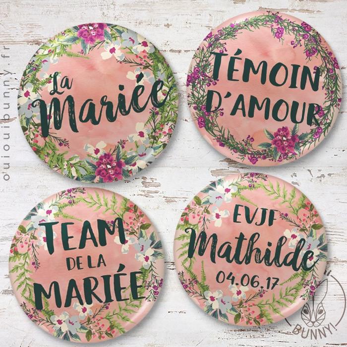 Kit de Badges Fleuris pour EVJF