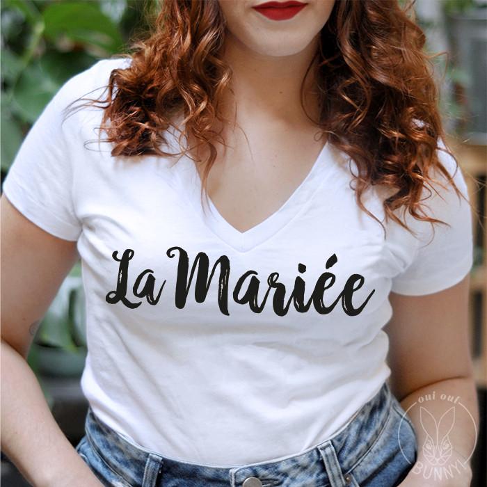 T-Shirt La Mariée col V ajusté, écriture Noire