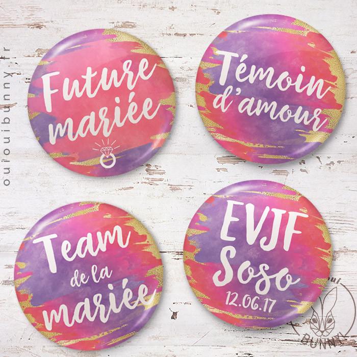 Kit de badges EVJF en Français, modèle aquarelle Sunset