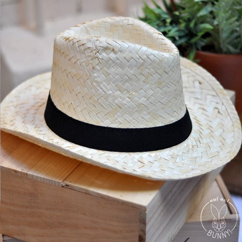 Chapeau de paille blanche Panama avec ruban noir gros grain