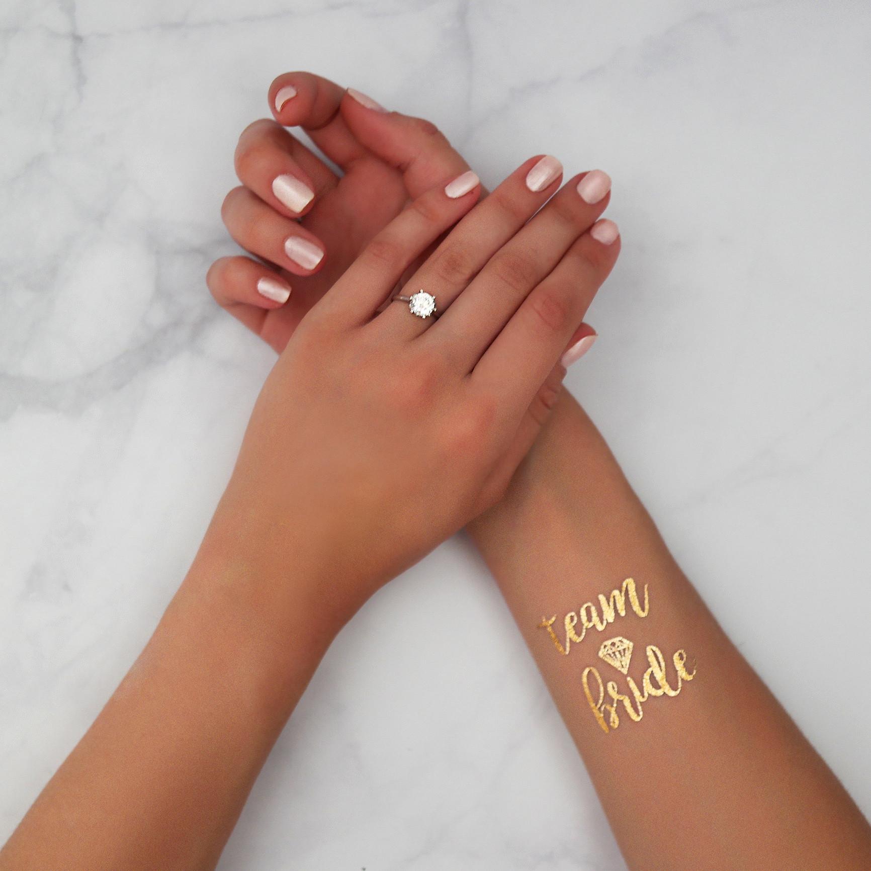 Tatouage éphémère Team Bride avec diamant