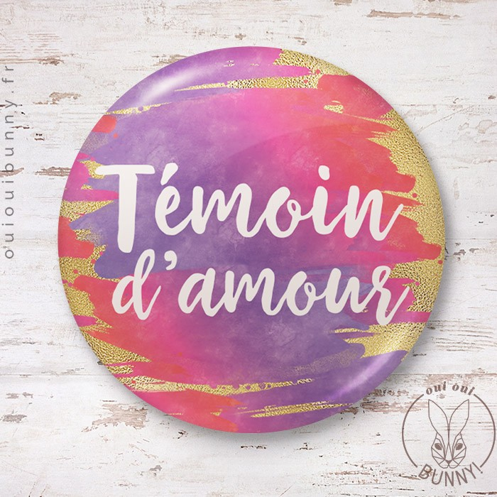 Badge aquarelle sunset Témoin d'Amour