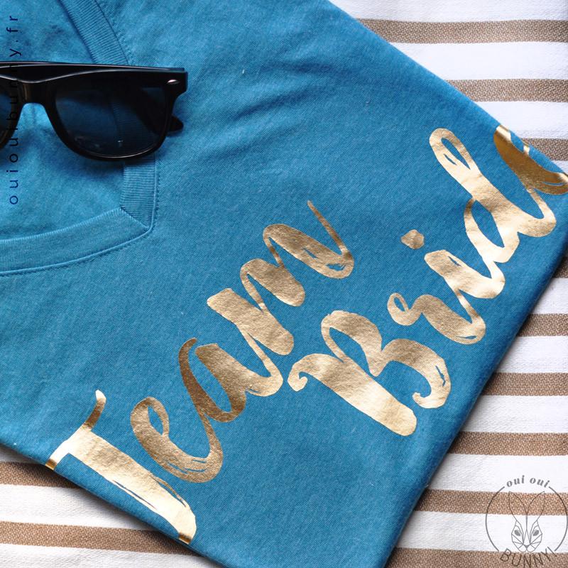 T-shirt Team Bride Bleu Canard et doré