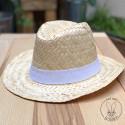 Chapeau Capri en paille blanche avec bandeau Blanc