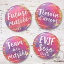 Kit de Badges EVJF Aquarelle Sunset