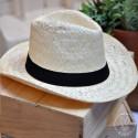 Chapeau Panama avec bandeau Noir cousu