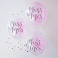 Ballons Miss to Mrs avec confetti - lot de 5