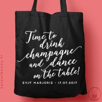 """Tote-Bag """"Time to Drink Champagne"""" personnalisé Noir"""