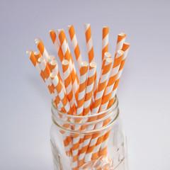 Pailles en papier - Couleur Orange