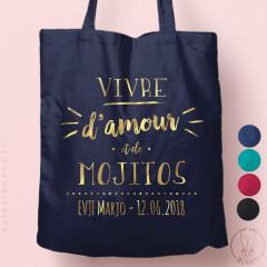 """Tote-Bag """"Vivre d'amour et de Mojitos"""" personnalisé Coloré"""