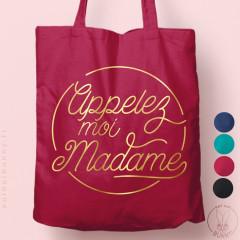 """Tote-Bag """"Appelez-moi madame"""" rond Coloré"""