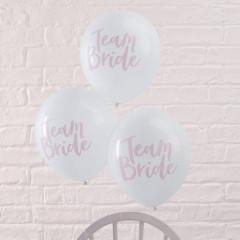 Ballons en latex Team Bride blancs avec marquage rose