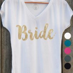 T-shirt Bride avec différents choix de couleurs de tissu et d'écriture