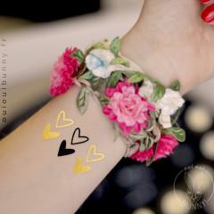 Tatouages éphémères dorés et noirs Coeurs