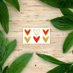 Tatouages éphémères 6 Cœurs Dorés et Rouges