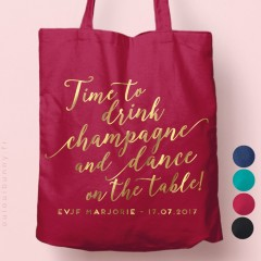 "Tote-Bag ""Time to Drink Champagne"" personnalisé Coloré"