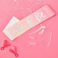 Echarpe Bride to Be rose degradé pour EVJF avec inscription irisée et ruban rose