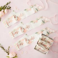 Lot de 6 Echarpes à fleurs en papier résistant, inscription Team Bride en rose cuivré
