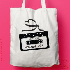 Tote-bag personnalisable Mixtape pour mariage