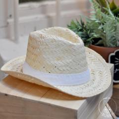 Chapeau de paille blanche Panama avec ruban blanc gros grain