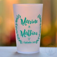 Gobelets personnalisés Mariage Rustique impression Turquoise