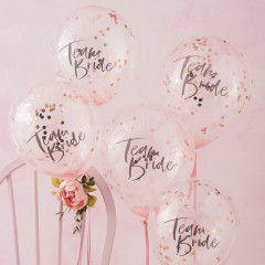 Ballons Team Bride & Confettis - lot de 5