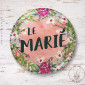 Badge Fleuri Le Marié