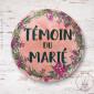 Badge Fleuri Témoin du Marié